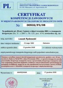 Certyfikat kompetencji zawodowych w międzynarodowy transporcie drogowym osób nr 0532/F3/08