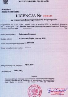 Licencja nr 0000428 na wykonywanie krajowego transportu drogowego osób