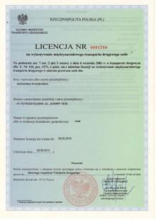 Licencja nr 0001799 na wykonywanie międzynarodowego transportu drogowego osób